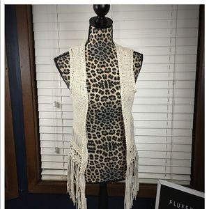 FANG Vintage Vanilla Crochet Fringe Vest Medium